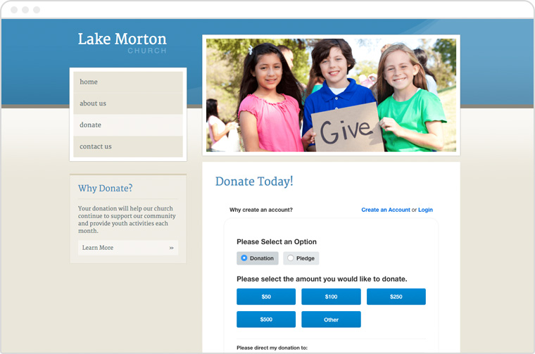 Online fundraising for faith-based organizations screenshot