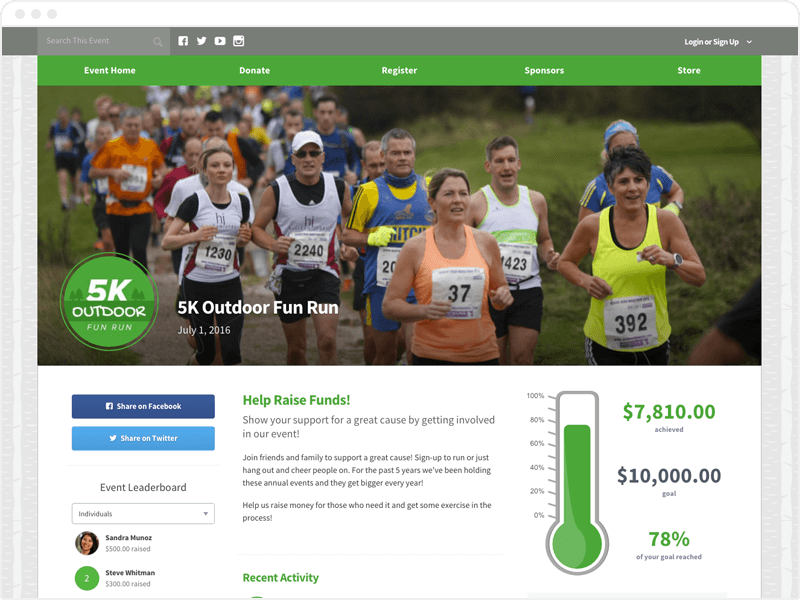 Peer-To-Peer Fundraising Screenshot