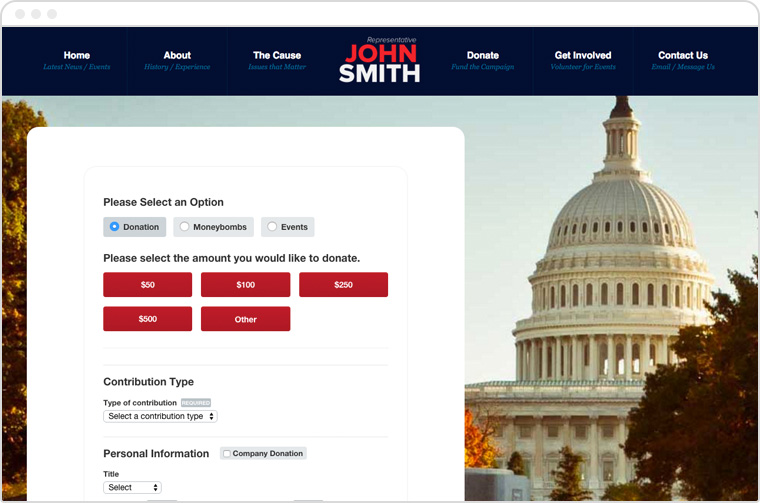 Political fundraising screenshot