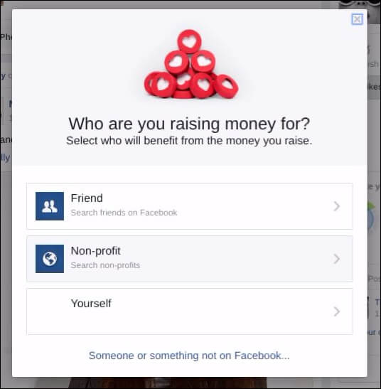 Step 3. Choose the nonprofit option when selecting who you are fundraising for.
