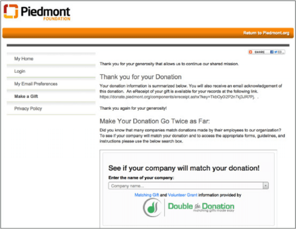 Piedmont Confirmation Screen