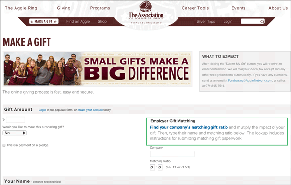 Texas Aggies Matching Gift Link Donation Form