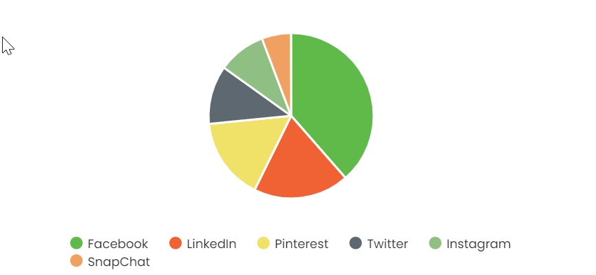 Chart illustrating the above statistics on the percentage of people on each social media channel