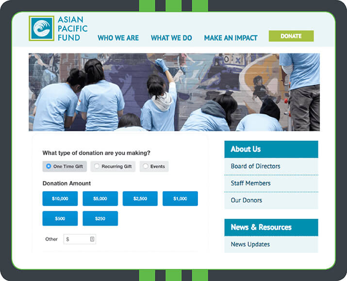 The Asian Pacific Fund uses a beautiful hero image to make their donation page visually interesting. Plus, the colors are quite complimentary. Qgiv's software has allowed this organization to easily brand the form so that it looks great!