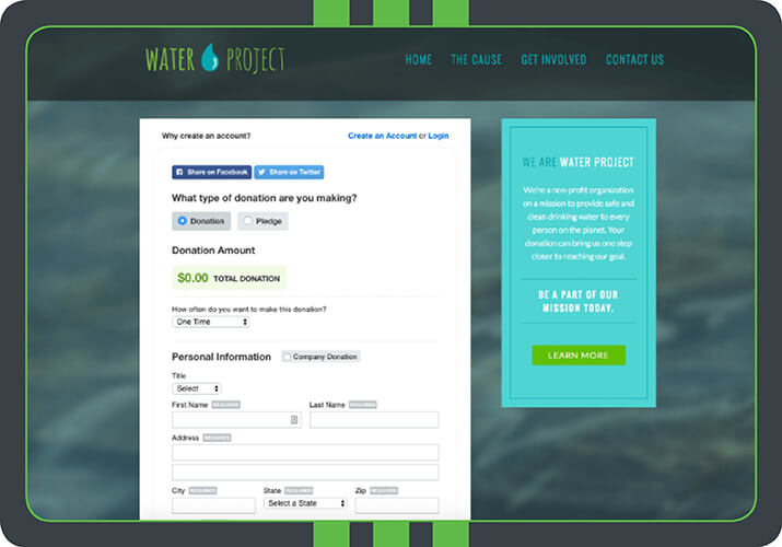 This custom donation page is embedded and branded to the Water Project. This page is powered by Qgiv's online fundraising software, which allows nonprofits to create effective, attention-grabbing donation forms like this one!