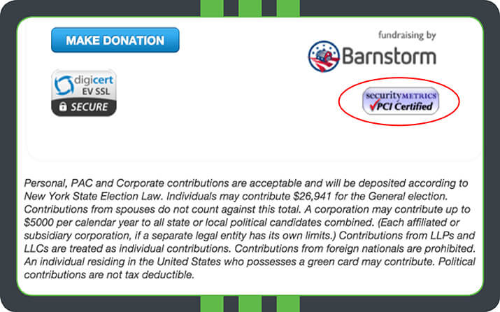 The Friends of Rob Astorino includes a PCI Certified logo and a DigiCert EV SSL Secure logo on the donation page.