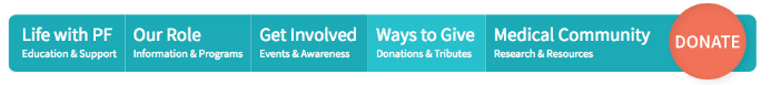 Donation buttons should be clear not just on donation pages, but across a nonprofit's entire website. The Pulmonary Fibrosis Foundation does just that.