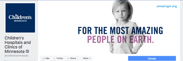 Children's Hospitals & Clinics of MN provides a donate button on their social media, which redirects donors to a branded donation page, courtesy of Qgiv's online software.
