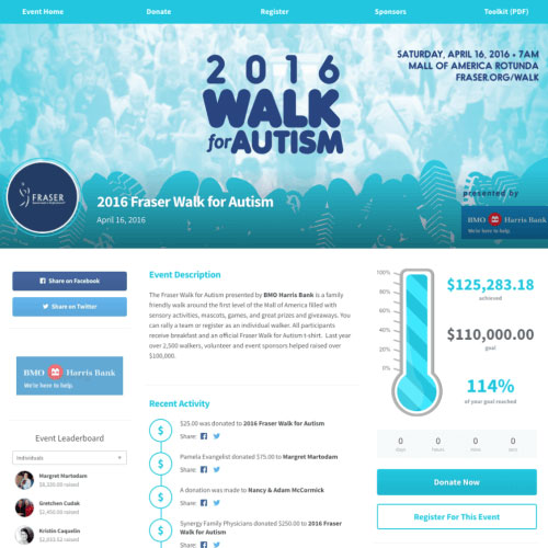Learn more about the Fraser Walk for Autism's peer-to-peer fundraiser.