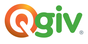 Qgiv logo, which is a white Q in an orange background followed by giv in green.