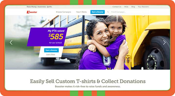 Booster is a t-shirt based peer-to-peer fundraising platform.