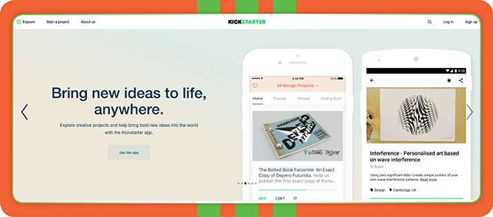 Kickstarter is a peer-to-peer or crowdfunding platform that can help you fund a creative project.