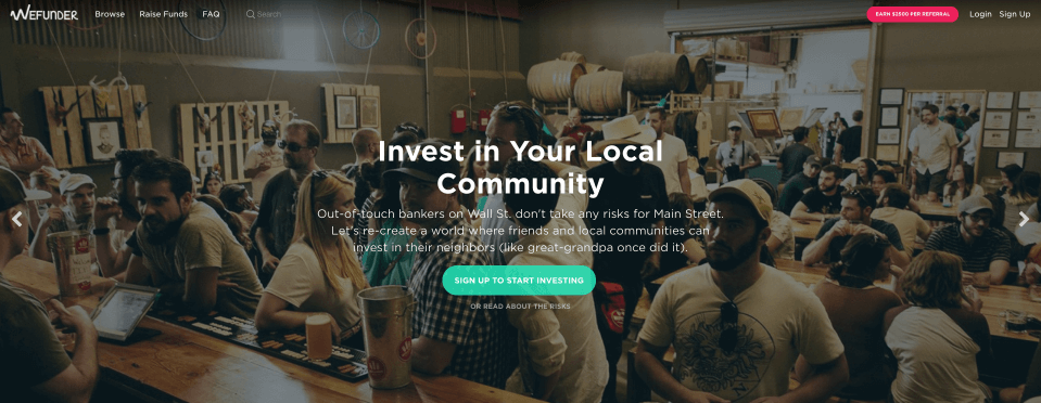 WeFunder raises money for startups through equity investing in a peer-to-peer fundraising platform.