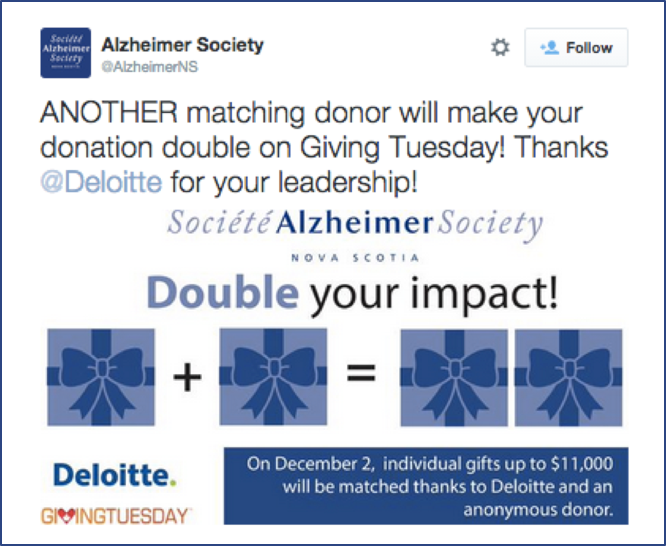 Check out this sample of social media advertisement for matching gifts.