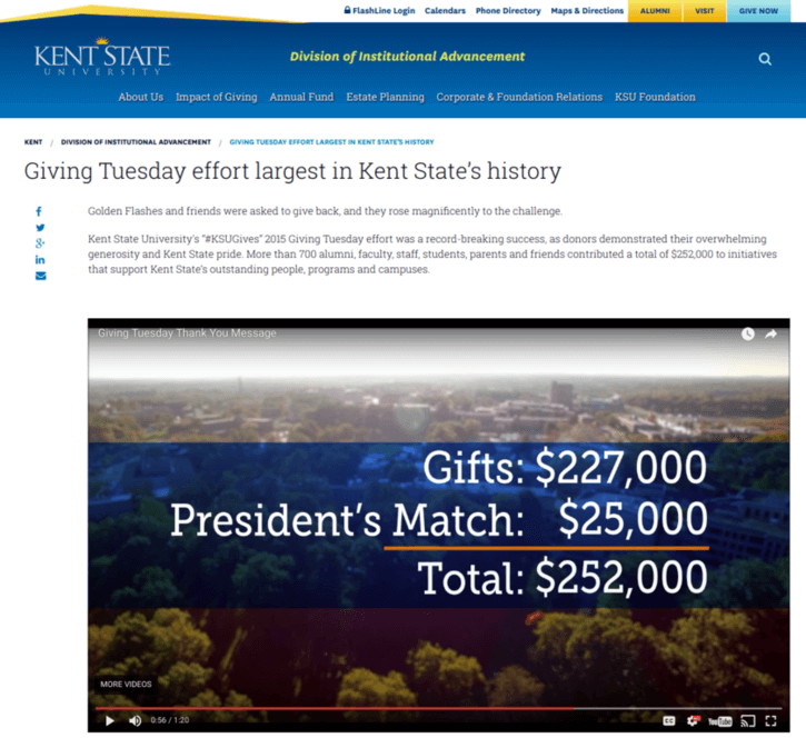 Kent State University's president matched gifts at $25,000 for the most successful Giving Tuesday in their college history.