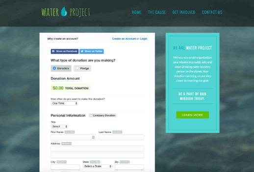 The Water Project donation form is a great example of how you can put this school fundraising idea into action.