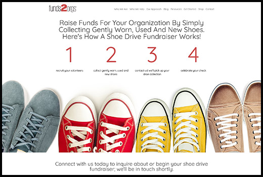 Funds2Orgs can help you host a shoe drive fundraiser, which is a great fundraising idea for schools and clubs.