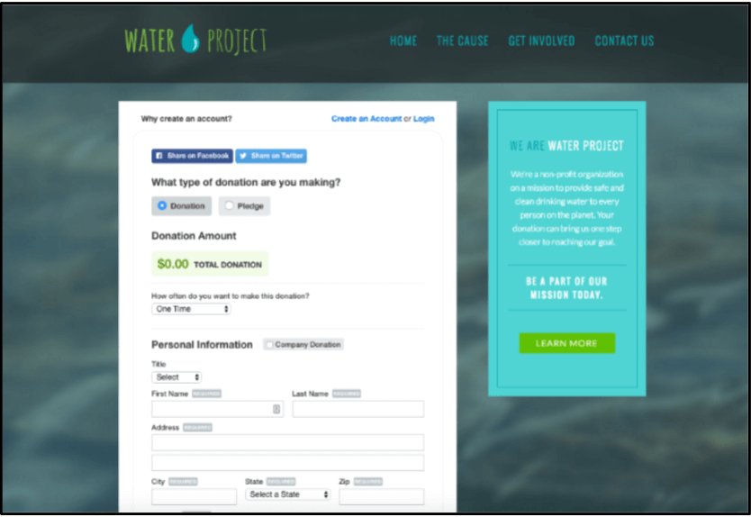 Here is an example of an online donation form.