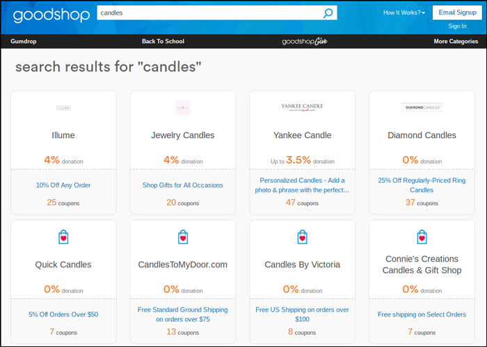 Use Goodshop to purchase candles at a discounted price for your church fundraiser.
