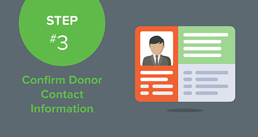 The third step in preparing your text giving campaign is to confirm your donor's contact information.