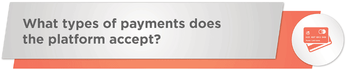 What types of payments does the online fundraising platform accept?