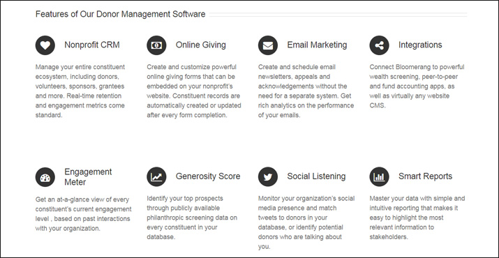 Bloomerang's suite of features, along with their CRM software, make this a formidable online donation tool.