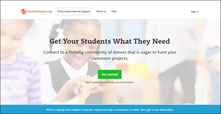 DonorsChoose is an online donation tool that gives supplies directly to students who are in need.