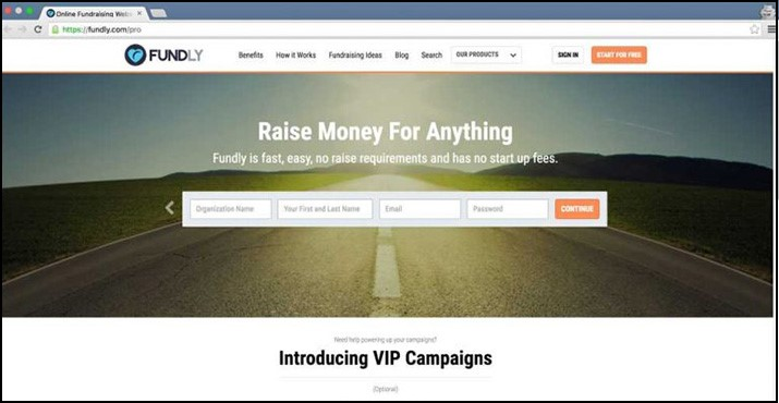 Accept online donations with Fundly