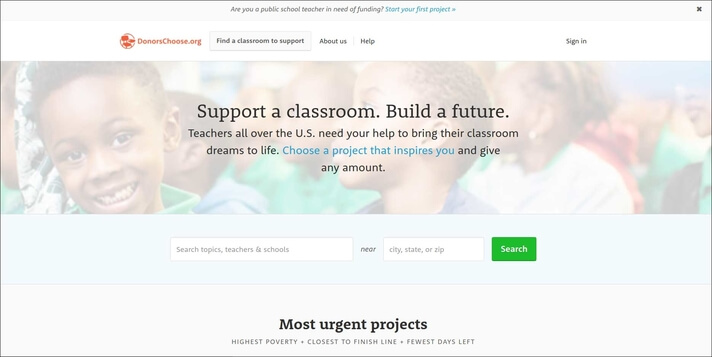 Accept donations with DonorsChoose as your online donation tool.