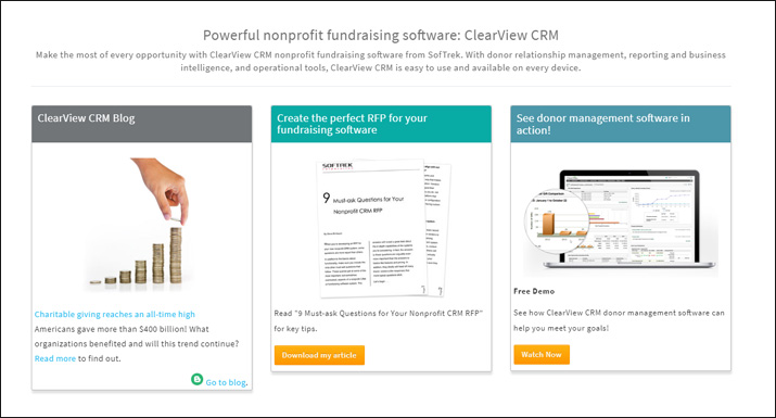 ClearView CRM is a great online donation tool for enterprise nonprofits because of its suite of features.