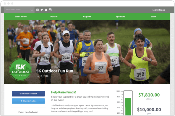 With Qgiv, nonprofits can manage events as part of a peer-to-peer campaign.