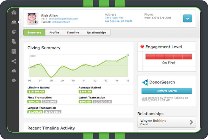 Bloomerang's fundraising software platform is a great option for small to medium nonprofits.