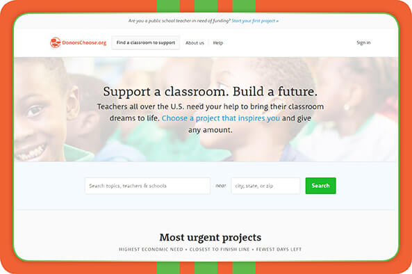 Learn more about accepting online donation through DonorsChoose.