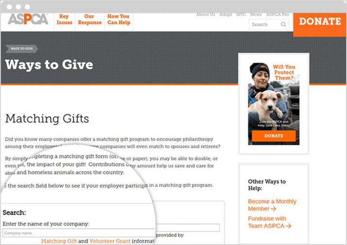 ASPCA features Double the Donation's matching gift search tool.
