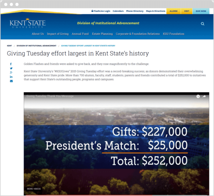 Kent State University's president matched gifts at $25,000 for their most successful Giving Tuesday.