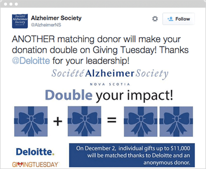 The Alzheimer Society promotes matching gifts opportunities using social media.