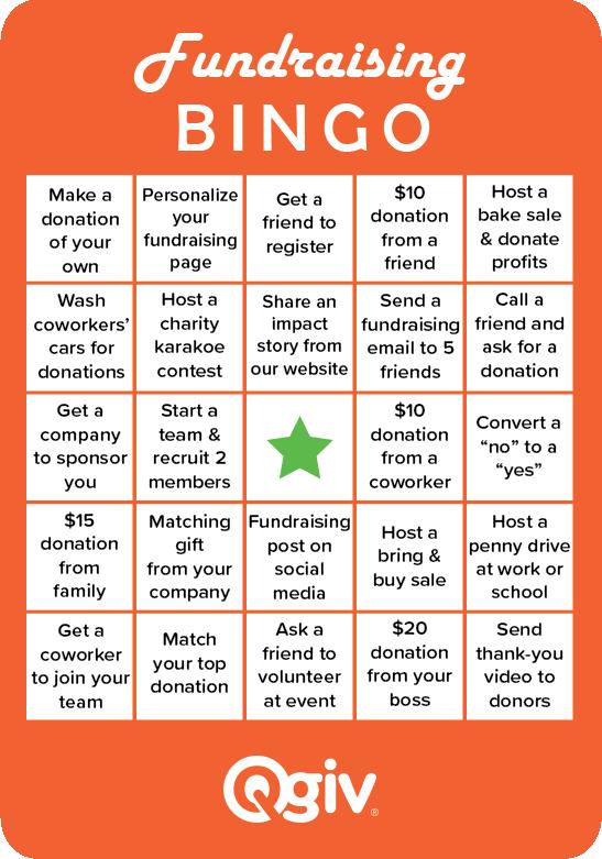 fundraising bingo card template