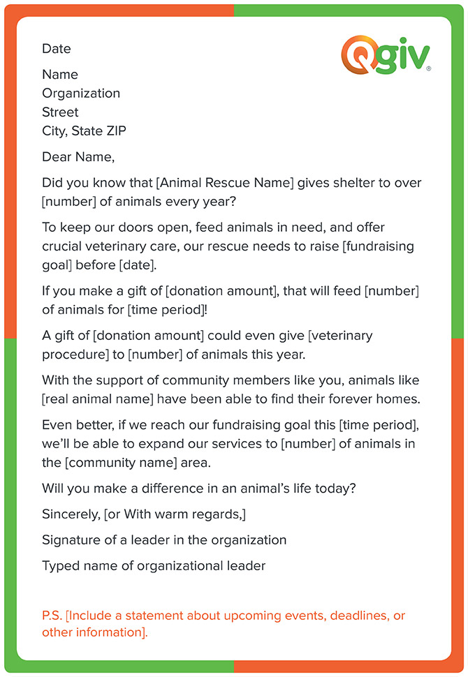 This animal rescue shelter fundraising letter template will help you reach your organizations goals in no time.