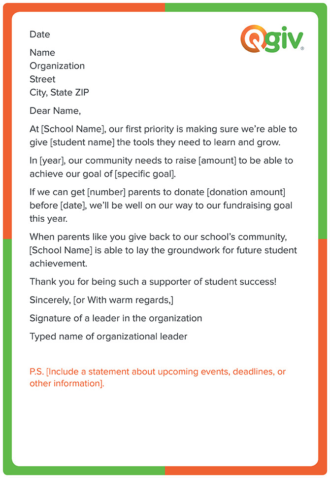 a school fundraising letter template like this one will make asking for donations to your school