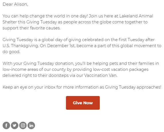Giving Tuesday Email Example - Appeal Letter