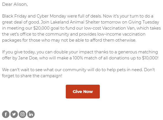 Giving Tuesday Email Example - Day Before Email