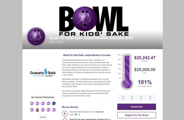 The Big Brothers Big Sisters peer-to-peer fundraising campaign was a huge success for building anticipation and raising money ahead of their Bowl for Kids event.