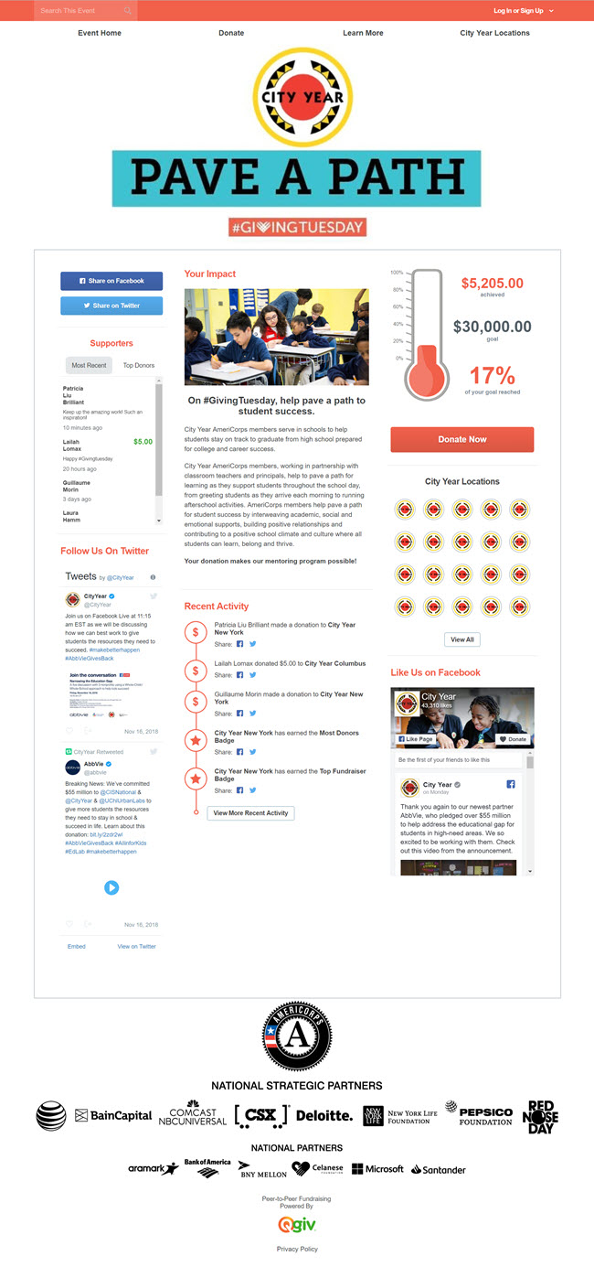 City Year's campaign page that has a clean design, impact information, and messages from donors.