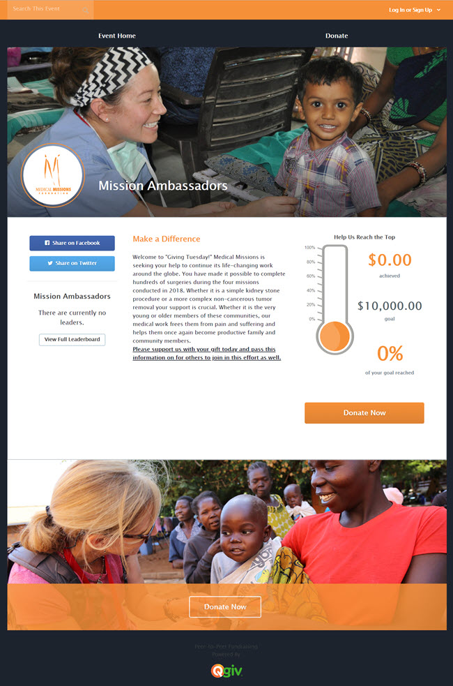 Medical Mission Foundation's campaign page with great photos from the field.