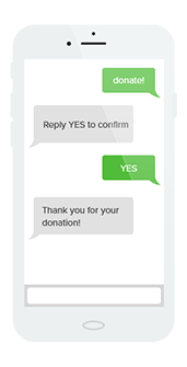 Mobile giving through texts is easier than ever with Qgiv's easy process.