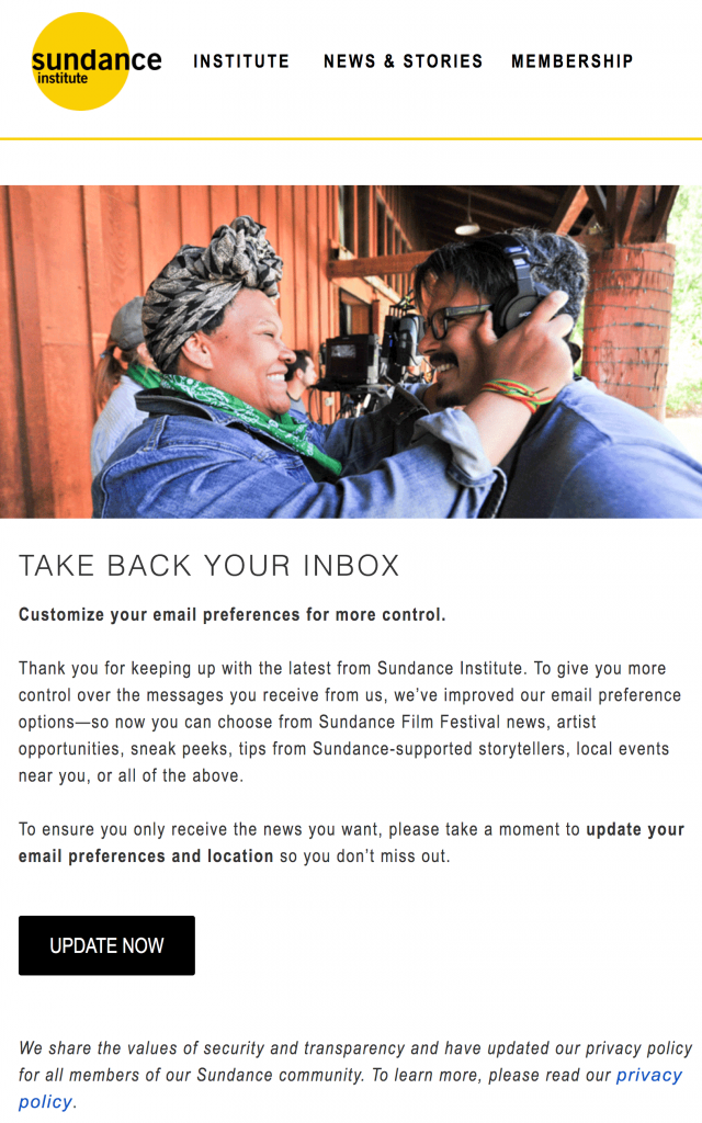 To improve donor retention, consider providing user preferences like this Sundance Institute email does.