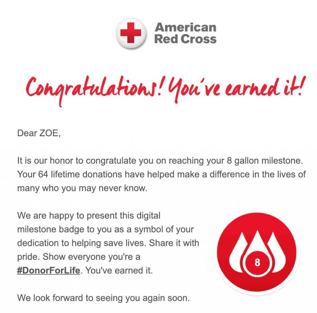 Provide updates on donations like the American Red Cross does in this email to improve donor retention and re-engage lapsed donors