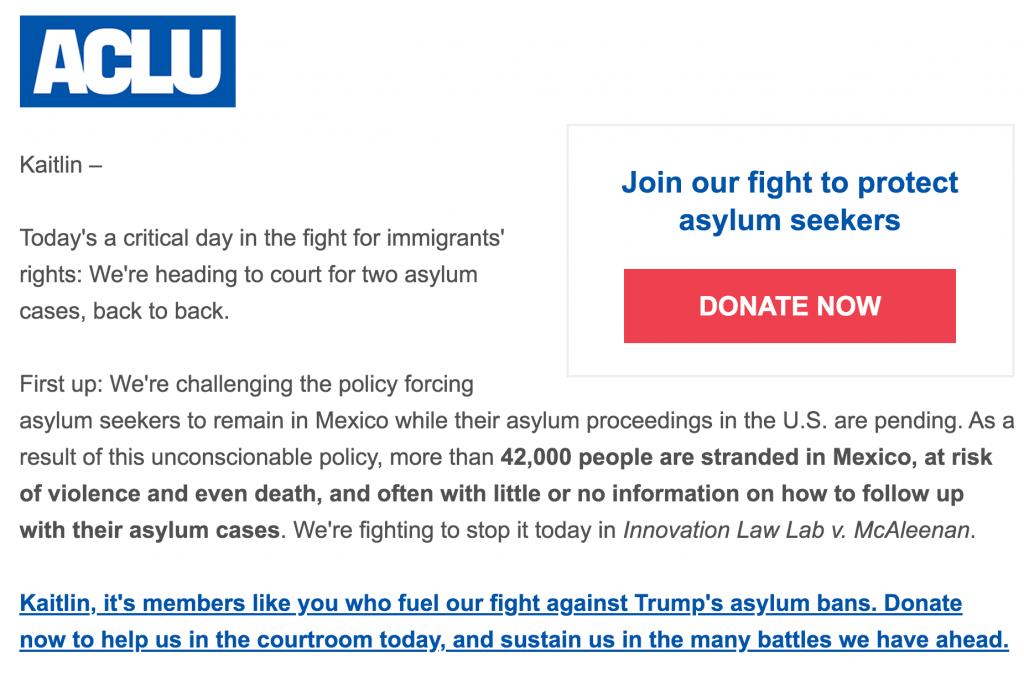 Email from ACLU that emphasizes the need for further donations