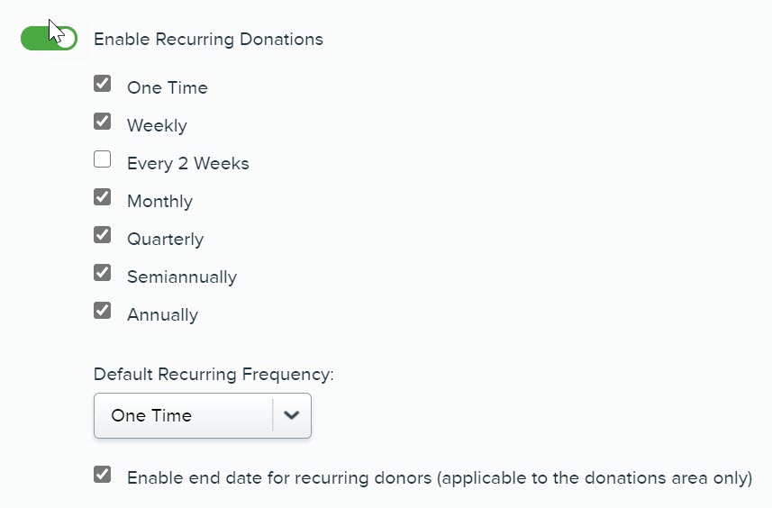 Screenshot showing where Qgiv users can turn recurring donation prompts on