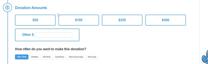 Example of what a recurring donation prompt looks like on an online donation form